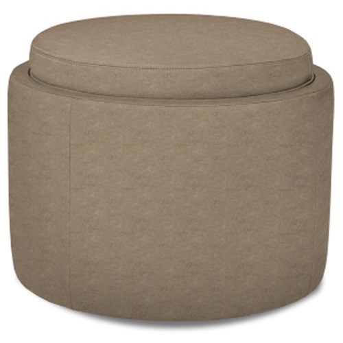 American Leather Uno Uno Round Storage Ottoman With Casters