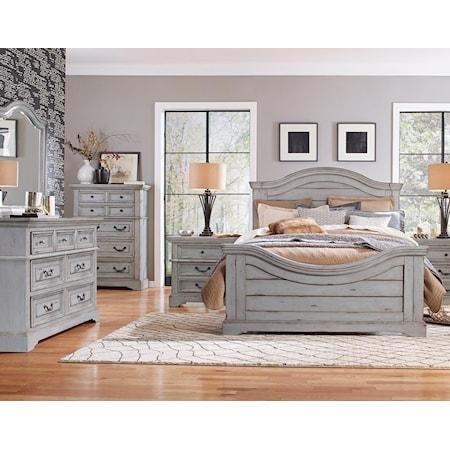 King Panel Bed, Dresser, Mirror, Nightstand