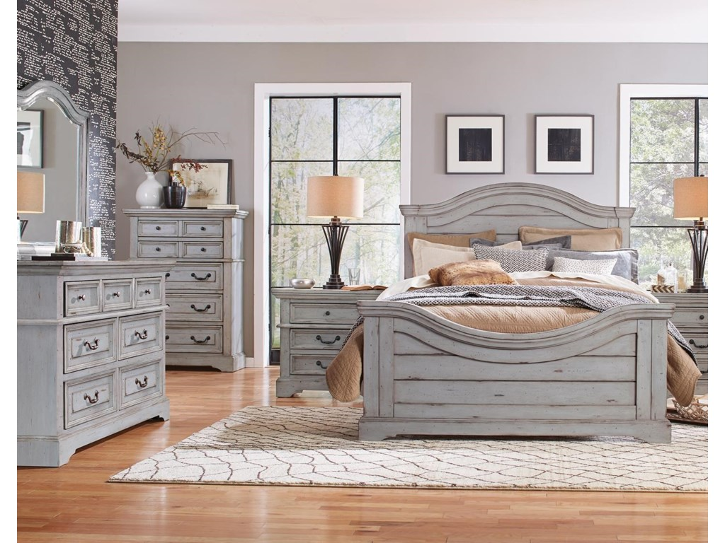 American Woodcrafters Stonebrook in Antique GrayKing Panel Bed, Dresser, Mirror, Nightstand