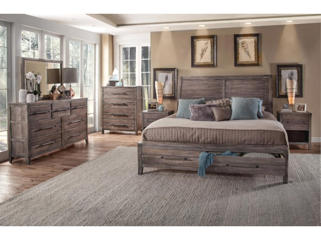 American Woodcrafters AuroraQueen Storage Bed