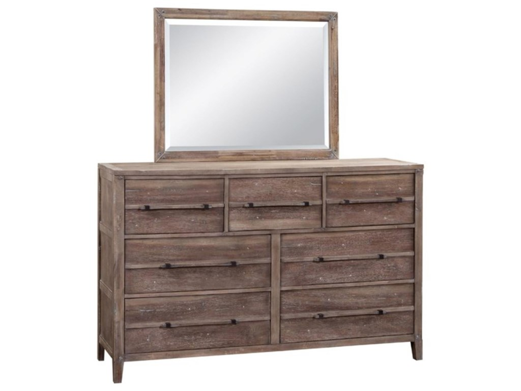 American Woodcrafters AuroraKing Bed with Dresser, Mirror, & Nightstand