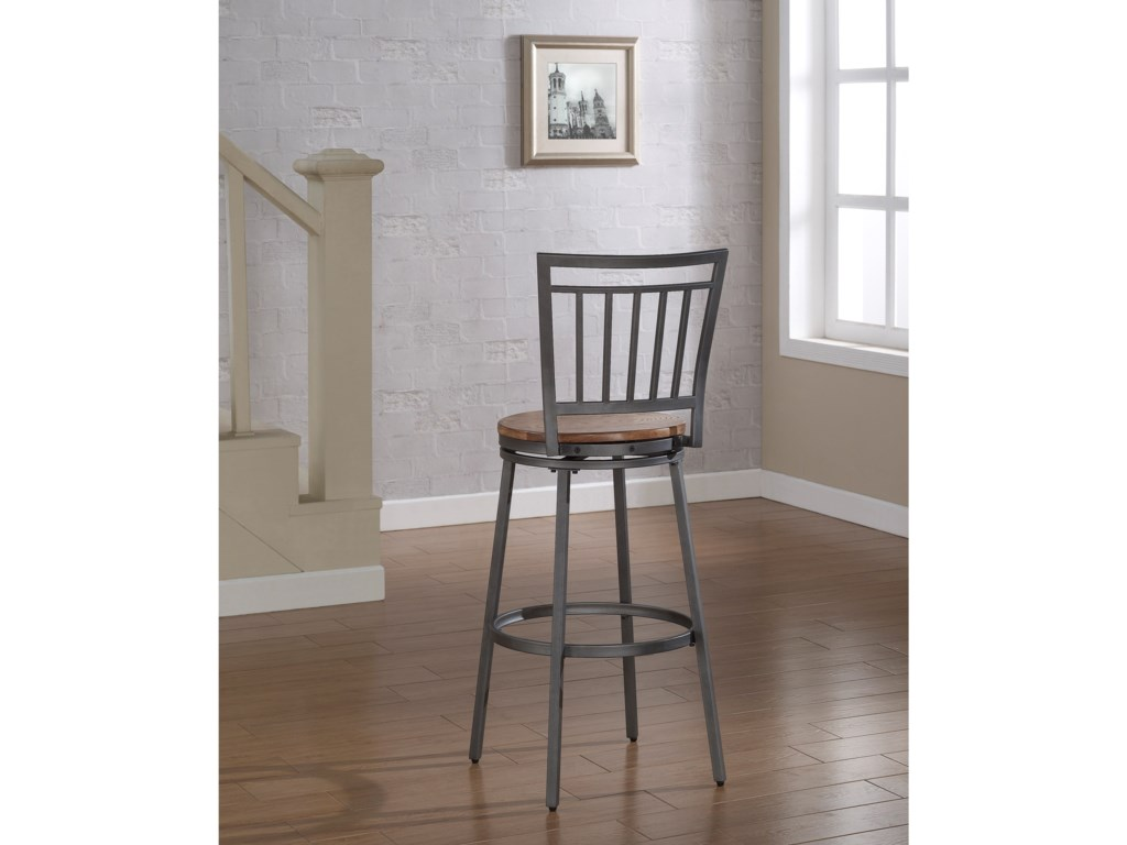 American Woodcrafters BarstoolsStool with Slat Back and Metal Frame