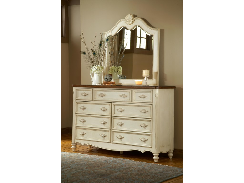 American Woodcrafters ChateauTriple Front Nine-Drawer Dresser and Mirror