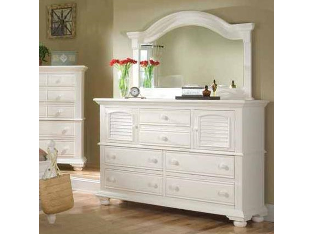 American Woodcrafters Cottage TraditionsDresser and Mirror Combo