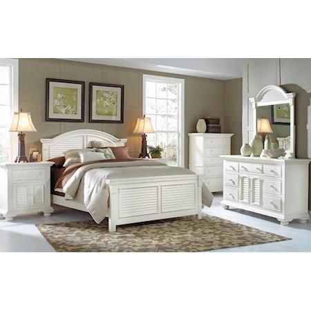 Queen Panel Bed, Nightstand, Dresser, Mirror