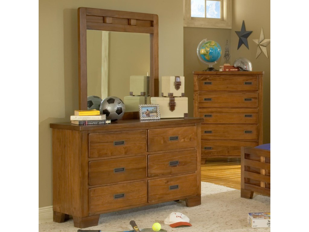 American Woodcrafters Heartland Dresser and Mirror