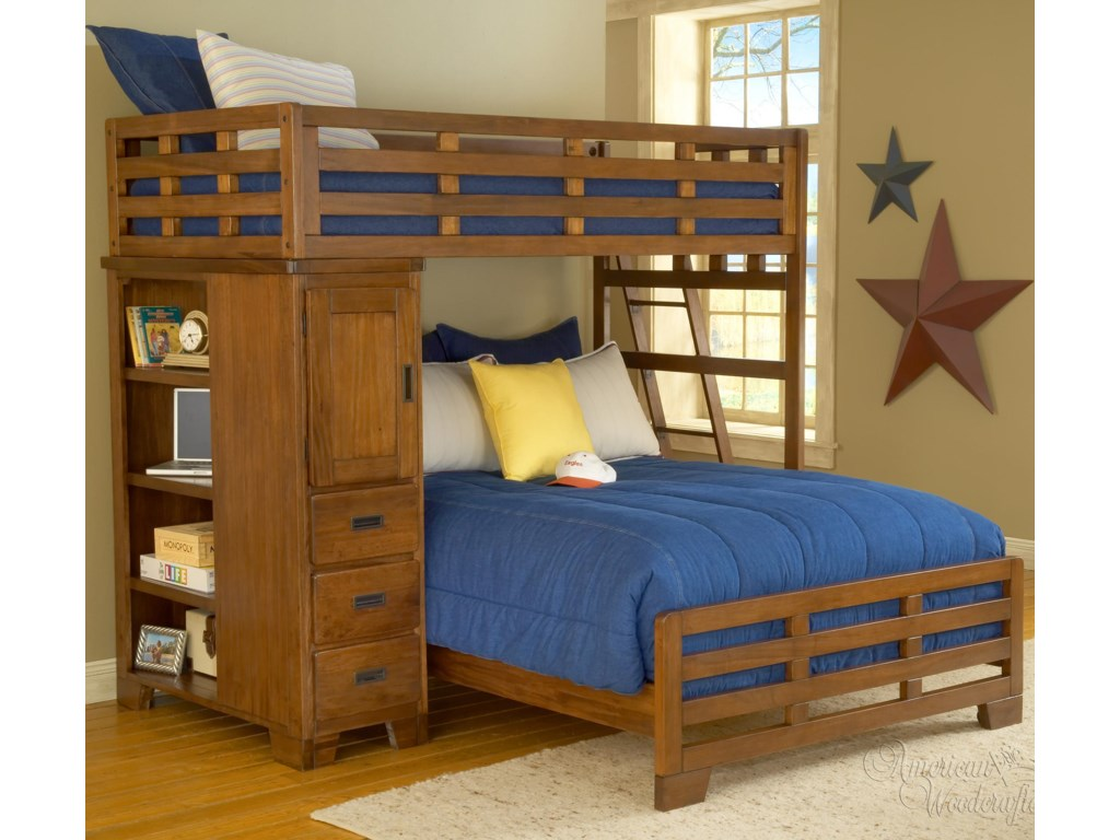 American Woodcrafters Heartland Twin-Over-Full Student Loft
