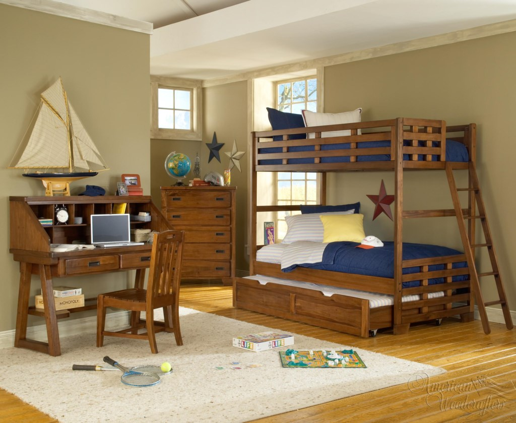 American Woodcrafters Heartland Twin Bunk Bed W Trundle Zak S