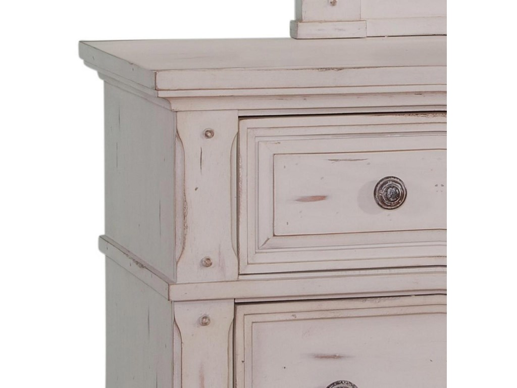 American Woodcrafters Sedona WhiteDresser and Mirror