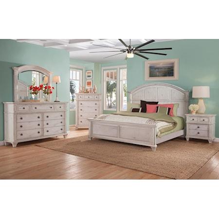 Queen Panel Bed, Dresser, Mirror, Nightstand