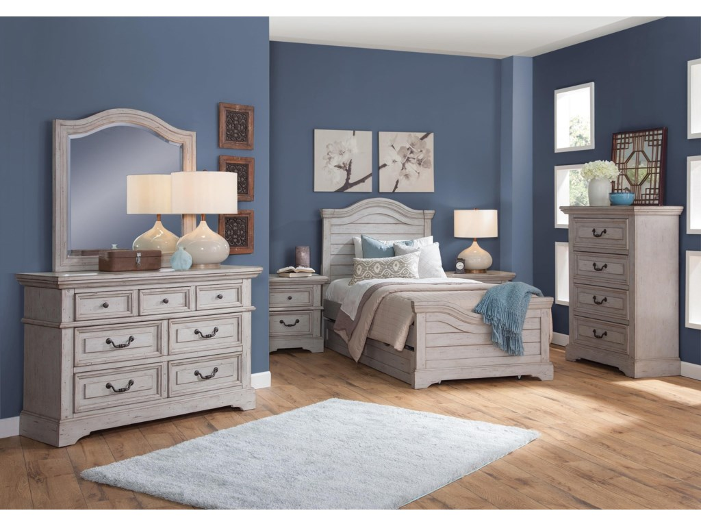 American Woodcrafters Stonebrook Youth in Antique GrayTrundle Storage Unit