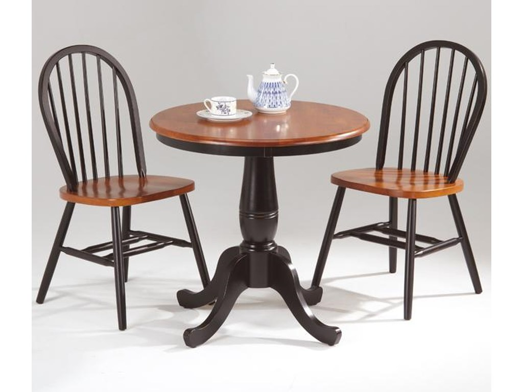 Amesbury Chair Farmhouse And Traditional Windsor Round Pedestal Table W 2 Side Chairs