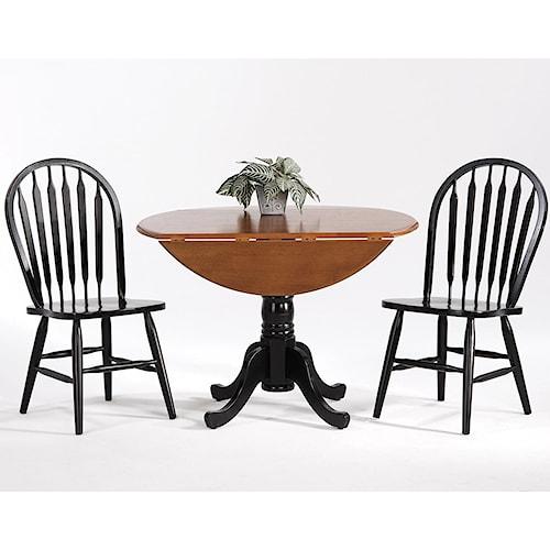 Amesbury Chair Creations II Drop Leaf Table w/ 2 Arrow Back Side Chairs