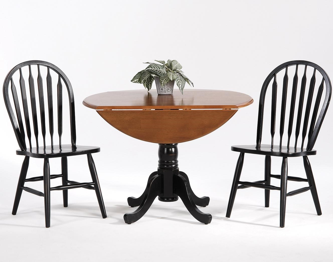 Amesbury Chair Farmhouse And Traditional Windsor Drop Leaf Table W/ 2 Arrow  Back Side Chairs