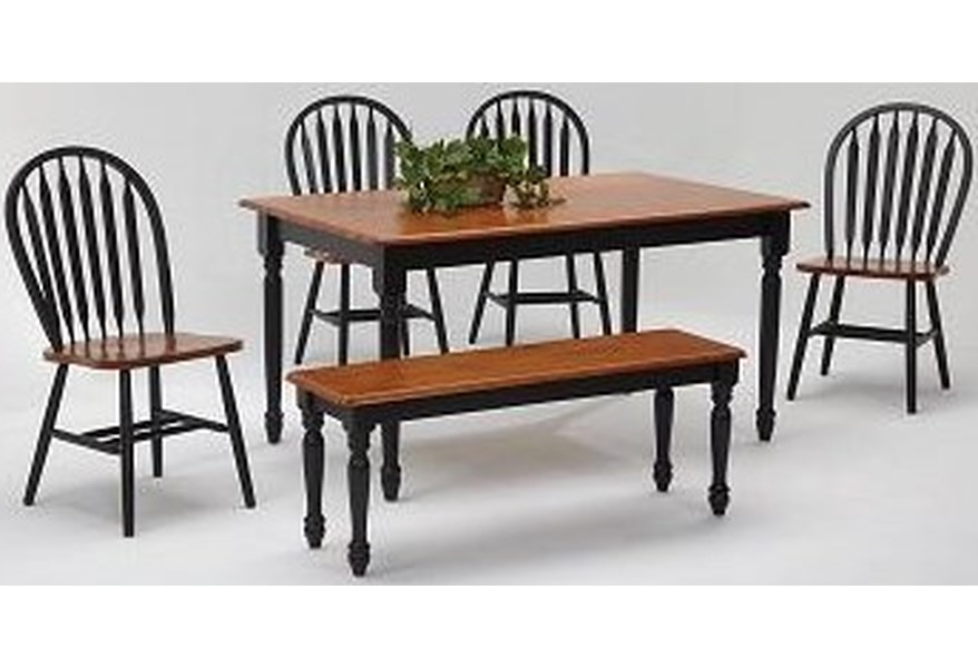 Amesbury Chair Farmhouse And Traditional Windsor 36 X 60 Black And Cherry Finish Solid Hardwood Table 4 Chairs And Bench Dinette Depot Casual Dining Room Groups