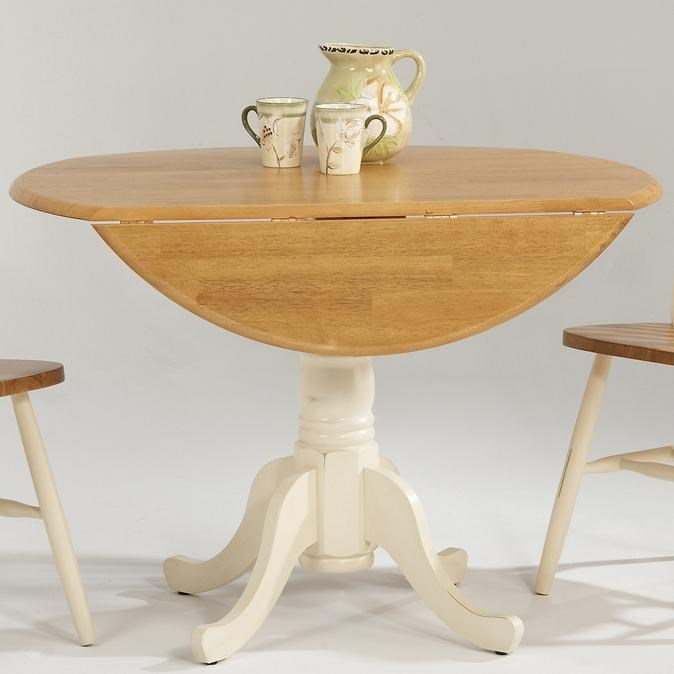 Amesbury Chair Farmhouse And Traditional Windsor Drop Leaf Pedestal Round  Table   Dinette Depot   Kitchen Table
