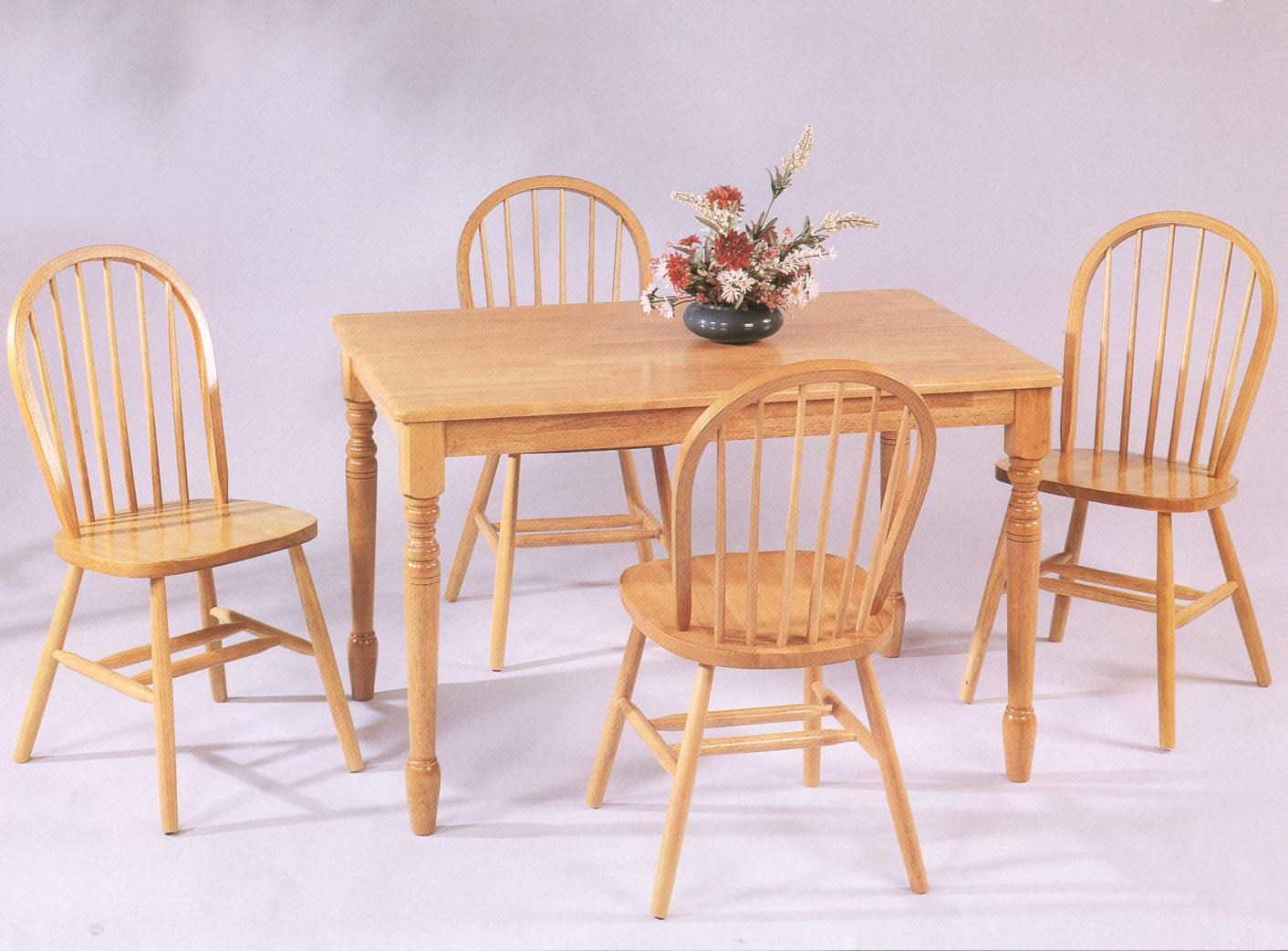 Amesbury Chair Farmhouse And Traditional Windsor Rectangular Leg Table W/ 4 Side  Chairs