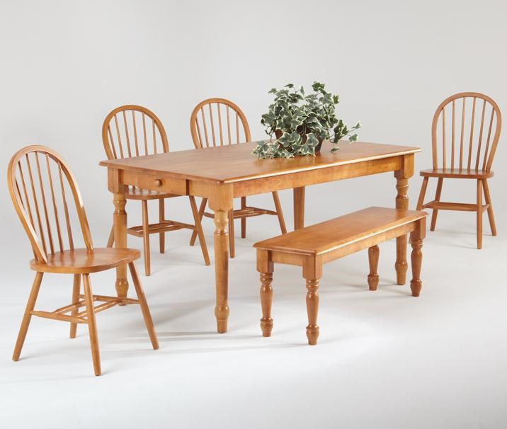 Captivating Amesbury Chair Farmhouse And Traditional Windsor Rectangular Table W/ 4  Side Chairs And Bench