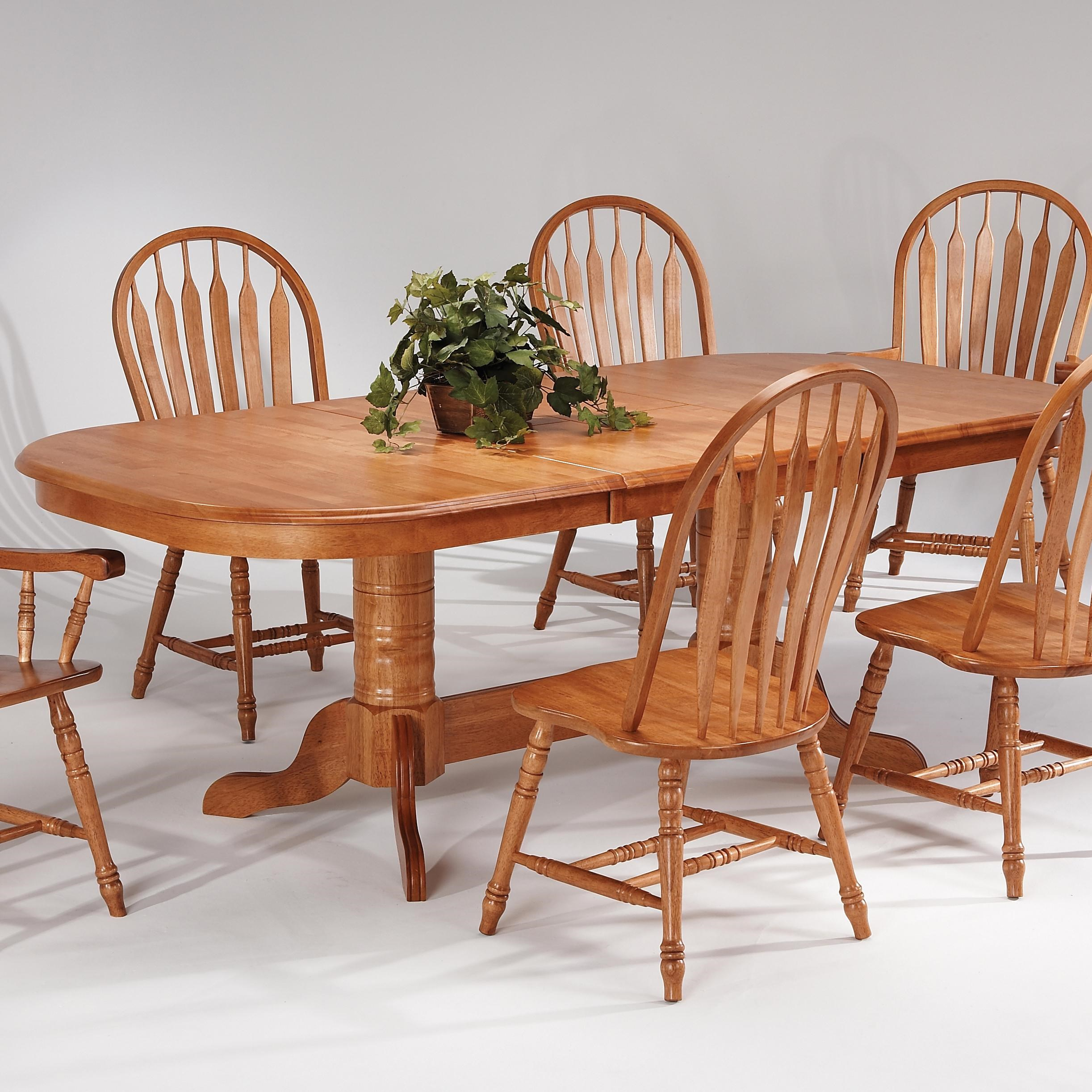 Amesbury Chair Farmhouse And Traditional WindsorDouble Pedestal Butterfly  Leaf Table ...