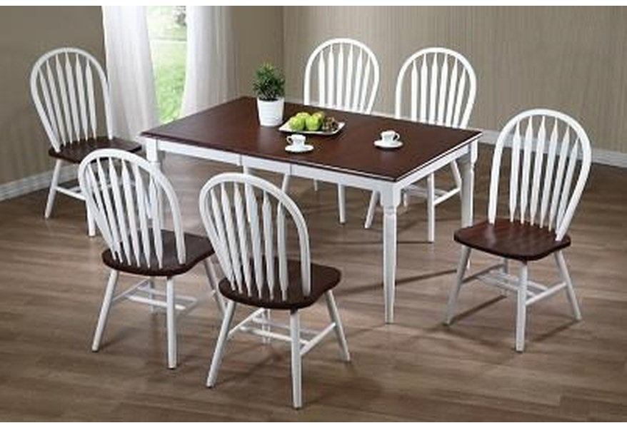 Amesbury Chair Farmhouse White And Chestnut 36x48x60 Solid Hardwood Butterfly Leaf Table With 6 Windsor Chairs Dinette Depot Casual Dining Room Groups
