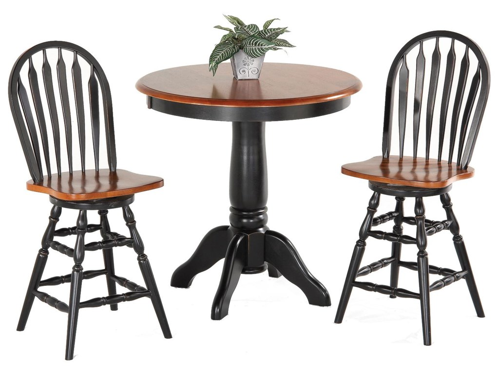 Amesbury Chair Pub Sets3-Piece Solid Hardwood Pub Table Set