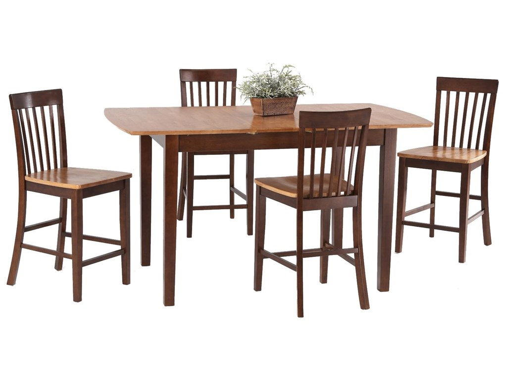 Amesbury Chair Pub Sets5-Piece Butterfly Leaf Pub Table Set