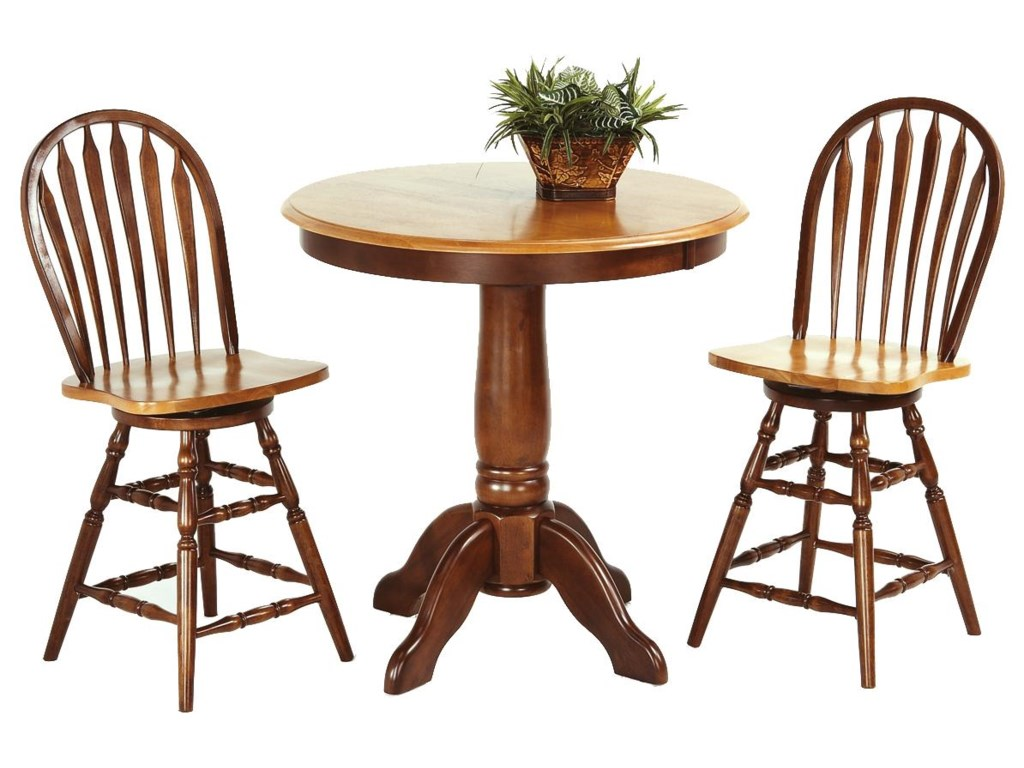Amesbury Chair Pub Sets 3 Piece Solid Hardwood Table Arrowback Stool Set