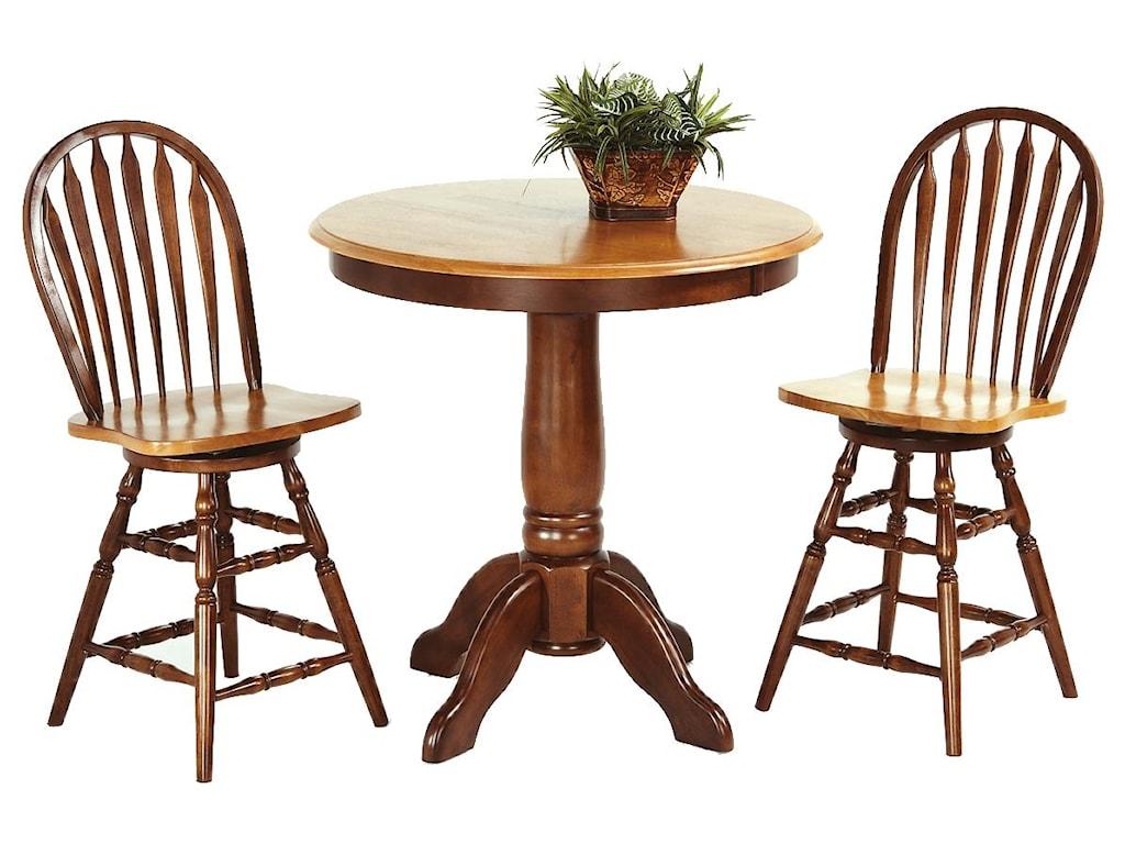 Amesbury Chair Pub Sets 3-Piece Solid Hardwood Pub Table & Arrowback ...