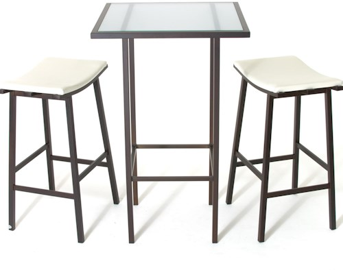 Amisco Aden Dinette Contemporary Counter Height Table and Stools