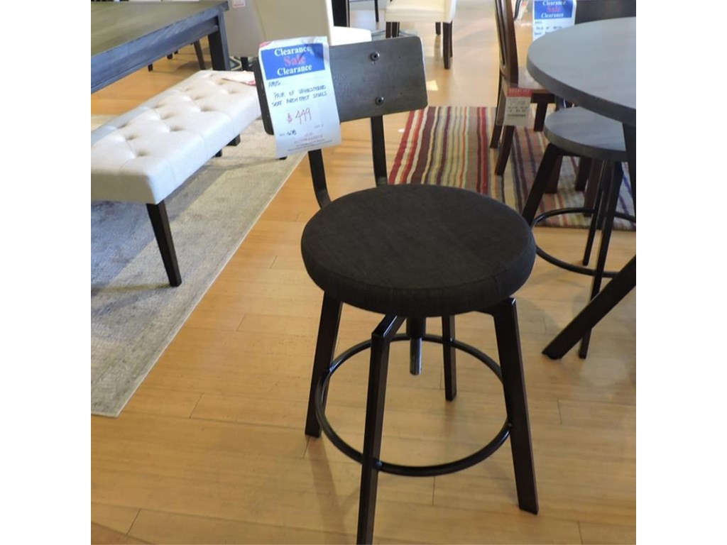 Amisco    Pair of Upholstered Architect Bar Stools