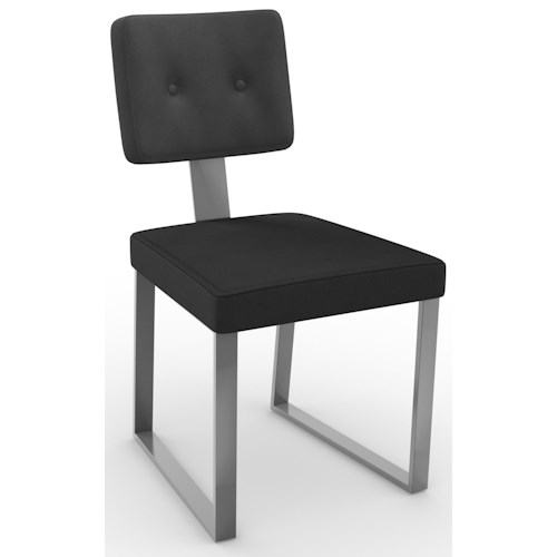 Amisco Dinettes Amisco Empire Dining Side Chair with Upholstered Backrest and Seat and Steel Legs