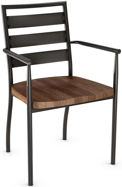 Amisco Industrial Tori Armchair with Wood Seat and Steel Frame