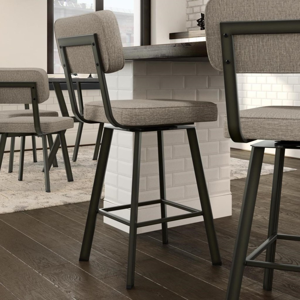 Amisco Industrial Upholstered Brixton Swivel Stool Counter Height