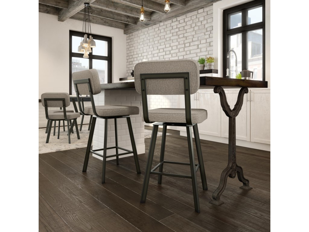 Amisco Industrial Upholstered Brixton Swivel Stool, Counter Height ...