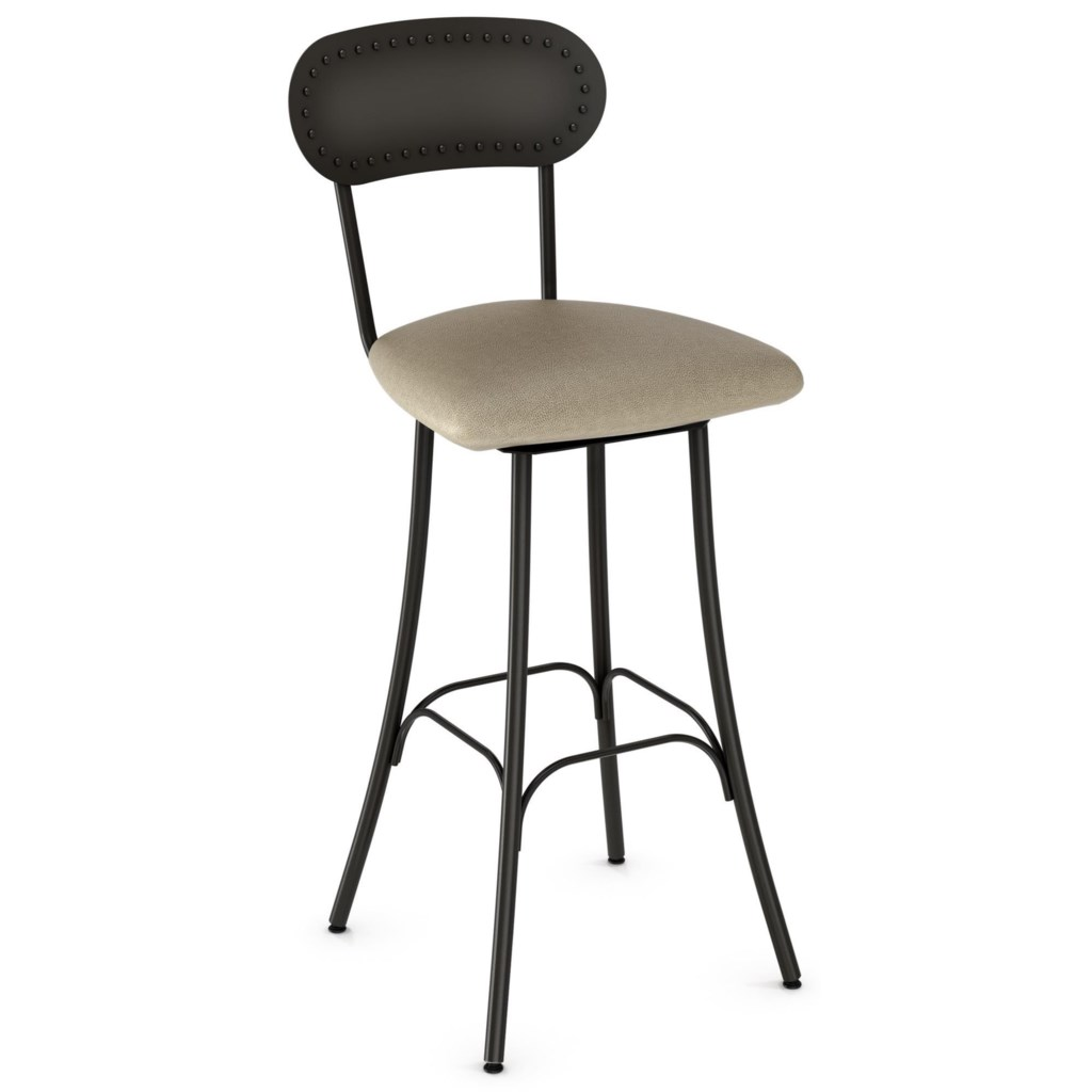 Amisco Industrial 26 Bean Swivel Stool With Upholstered Seat