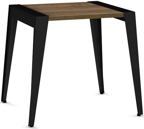 Amisco Industrial Wedge End Table with Solid Birch Top