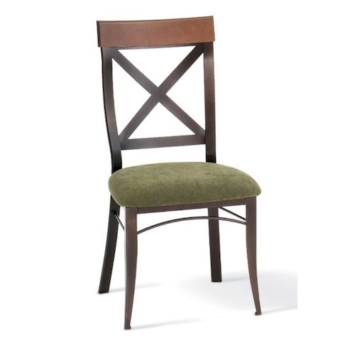 Amisco Kai Dinette Kyle Side Chair with X Back and Upholstered Seat