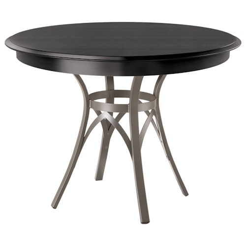 Amisco Kai Dinette Round Dining Table with Interlaced Metal Pedestal Base