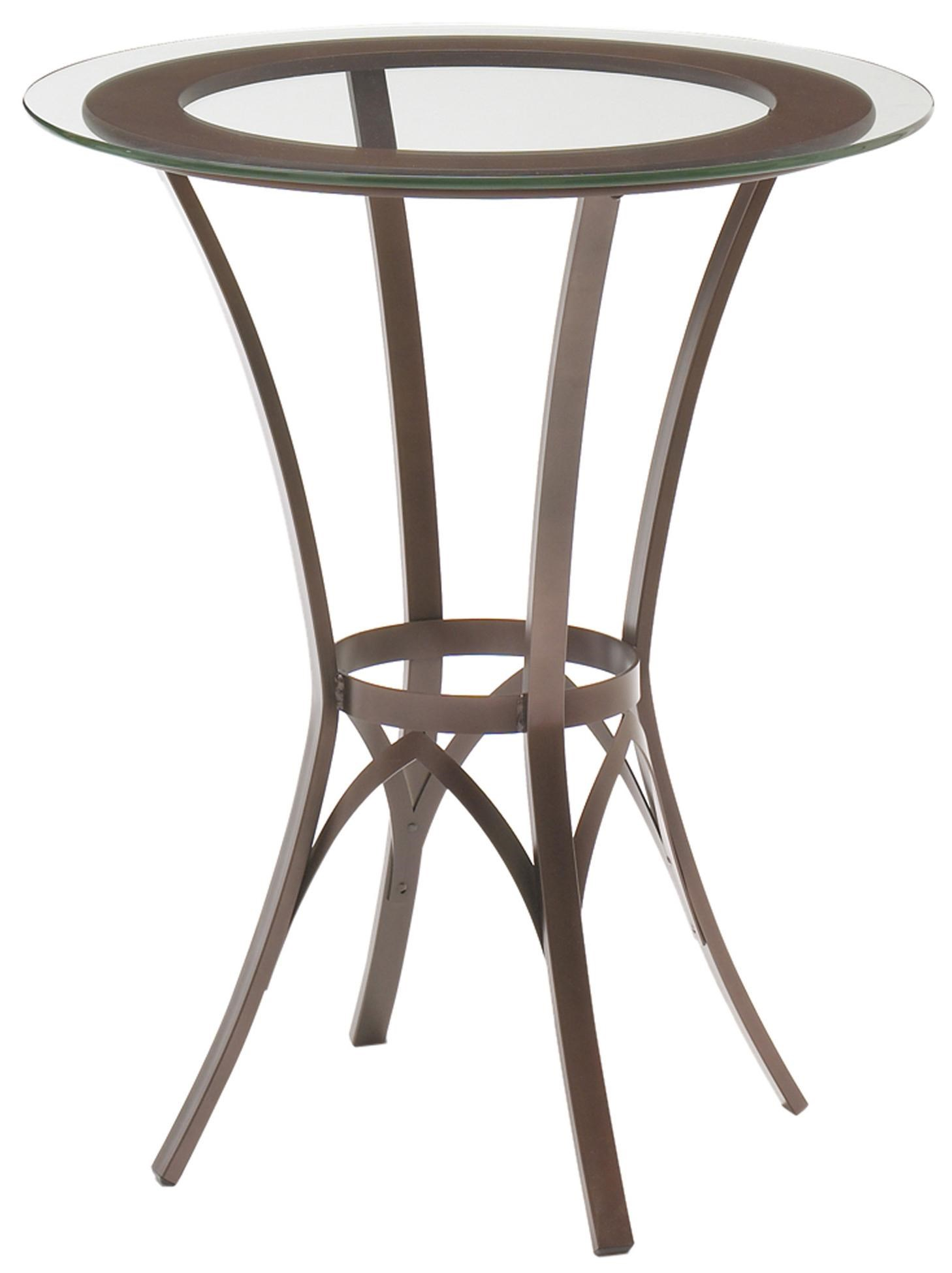Amisco Kai Dinette Round Bar Height Pub Table With Glass Top And Interlaced  Metal Base