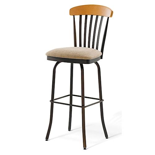 Amisco Stools Tammy Swivel Stool with Upholstered Seat and Slat Back