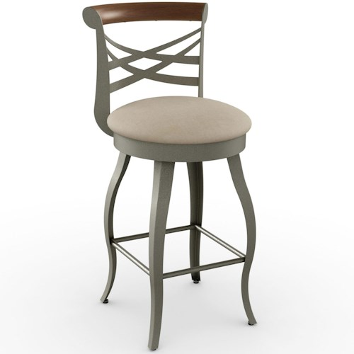 Amisco Stools Transitional Whisky Bar Stool with Bowed Legs