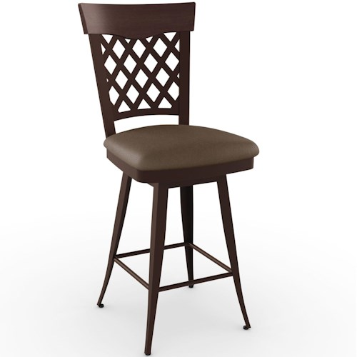 Amisco Stools Cottage Wicker Bar Stool with Wood Accent