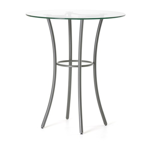 Amisco Customizable Dining Contemporary Lotus Bar Height Table with Round Glass Top and Splayed Legs