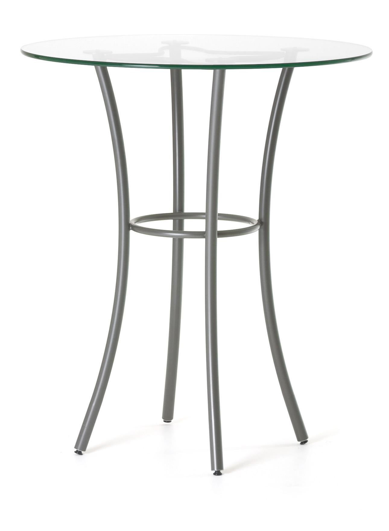 Tables Amisco Contemporary Lotus Counter Height Table With Round Glass Top  And Splayed Legs By Amisco