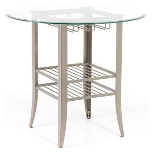 Amisco Customizable Dining Andy Contemporary Counter Height Table with Round Glass Top and Two Shelves in Base