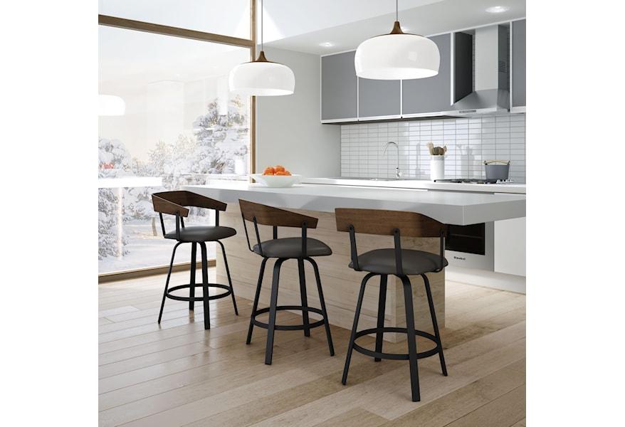 Amisco Nordic Customizable 26 Carson Swivel Counter Stool Reid S Furniture Bar Stools