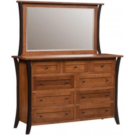 Amish Dresser and Mirror