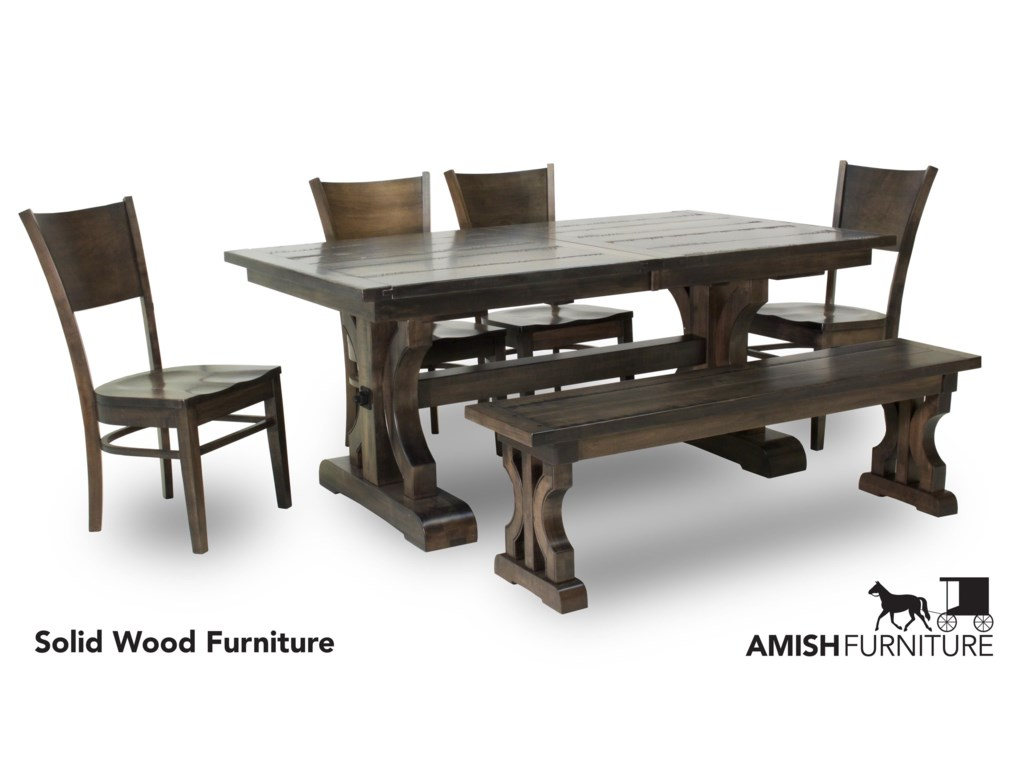 Amish Impressions by Fusion Designs Caspian5 Piece Dining Set with Bench