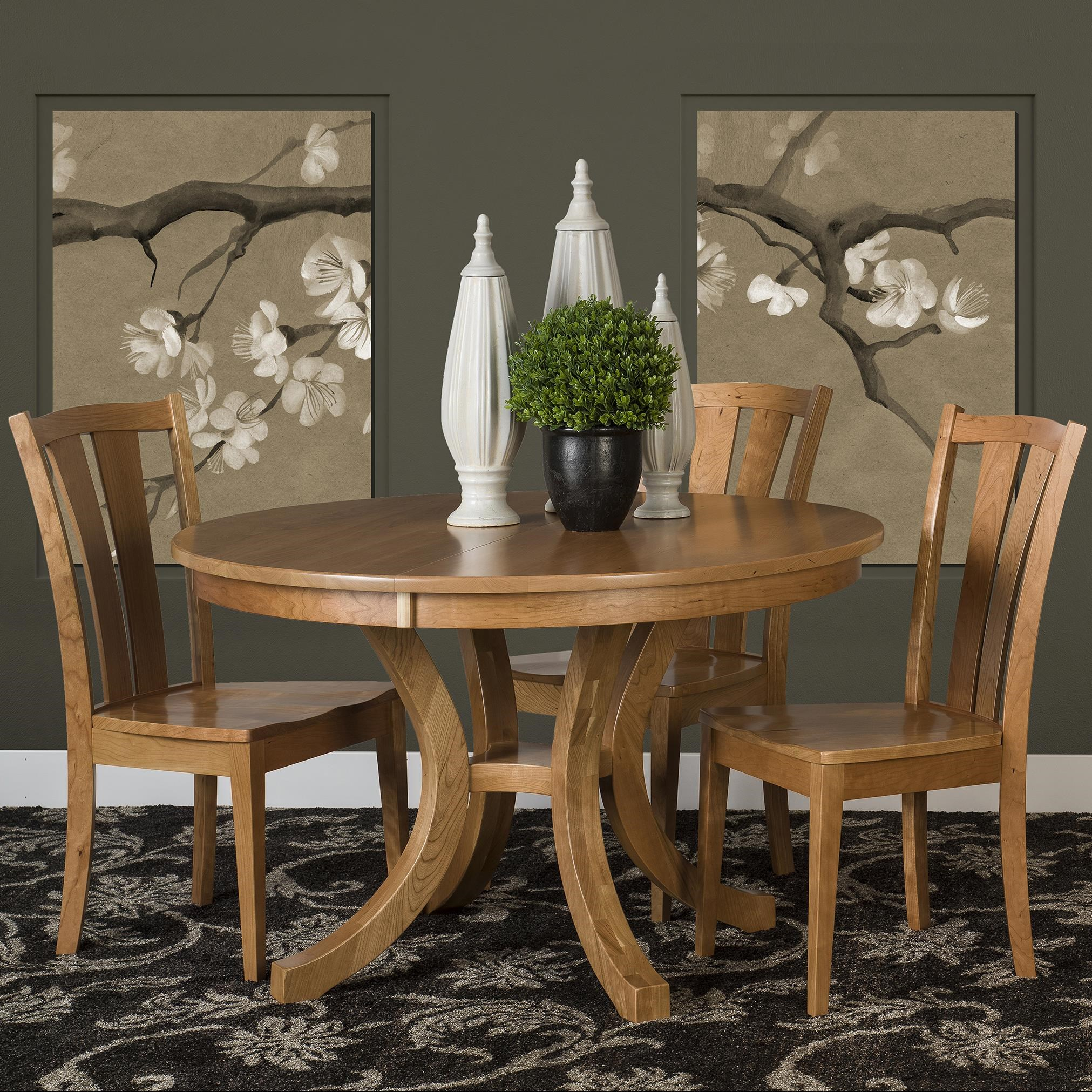 Amish Impressions By Fusion Designs Charleston 5 Piece Dining Set With  Splat Back Chairs