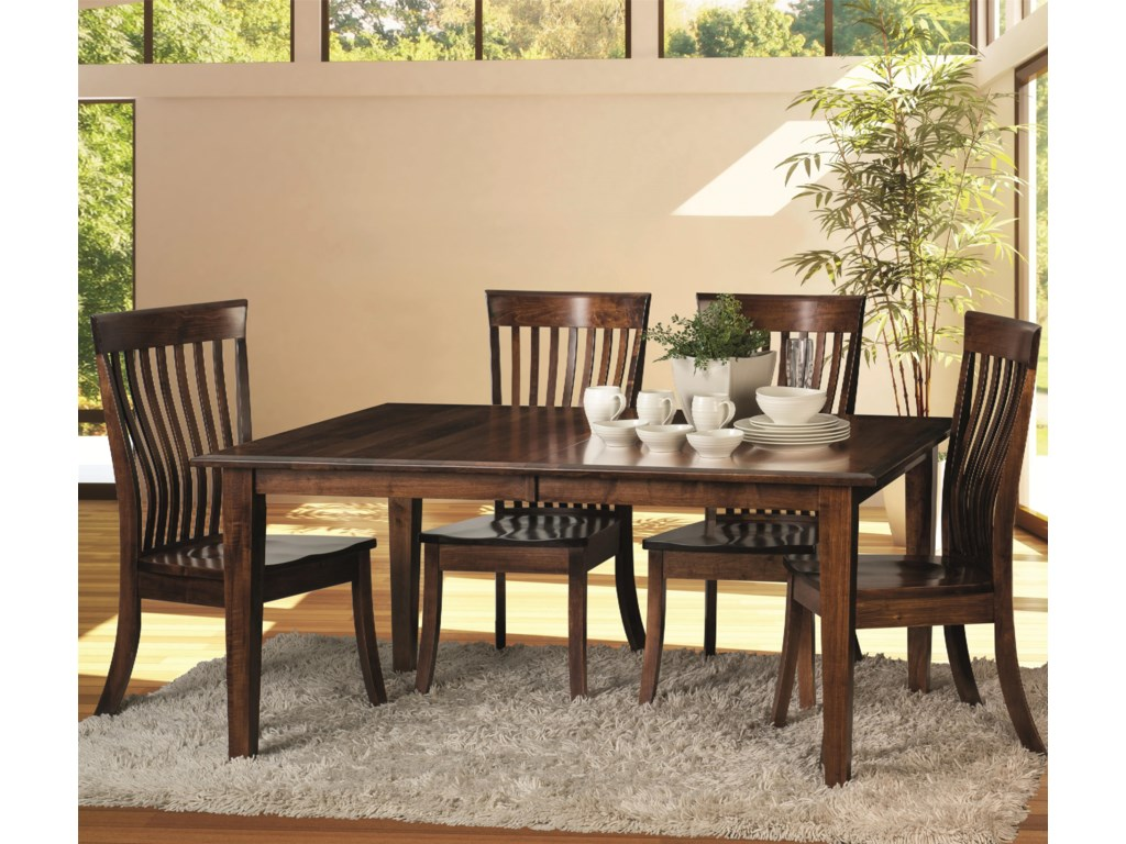 Amish Impressions by Fusion Designs Classic 5 Piece Dining Set with ...